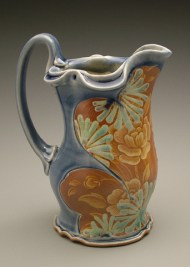 pitcher 2006, salt-fired white stoneware, decals