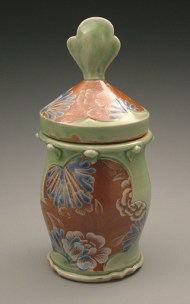 jar 2006, salt-fired white stoneware, decals