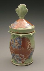 jar 2006, salt-fired white stoneware, decals