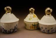 sugar jars 2003, porcelain, luster, decals