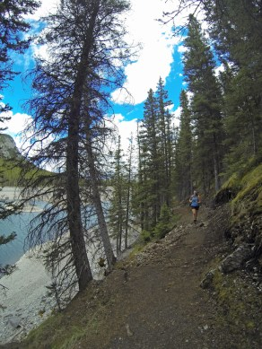Cool shot of Jen running along the lake. As you can see, the GoPro is a Fish-eye lens!