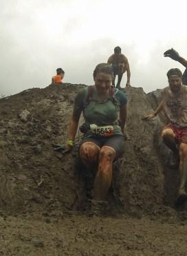 Jen descends Mud Hurdles