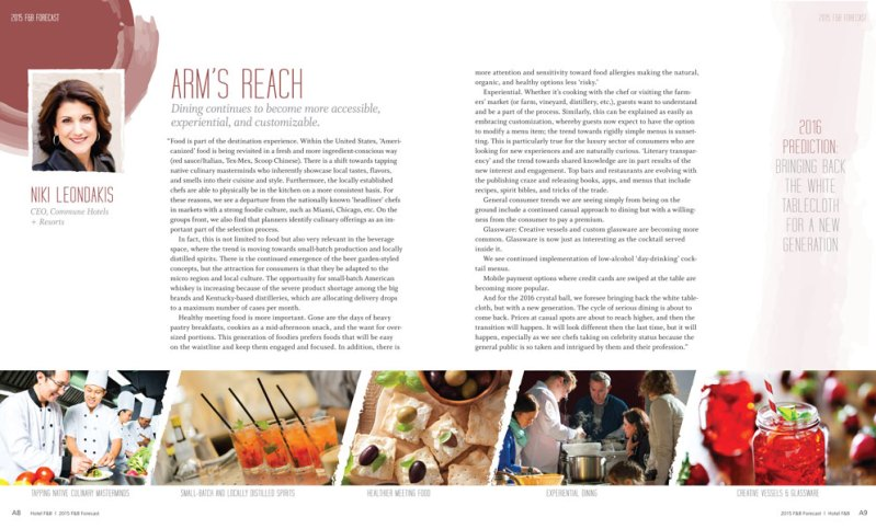 Hotel F&B Magazine Trends Section Spread