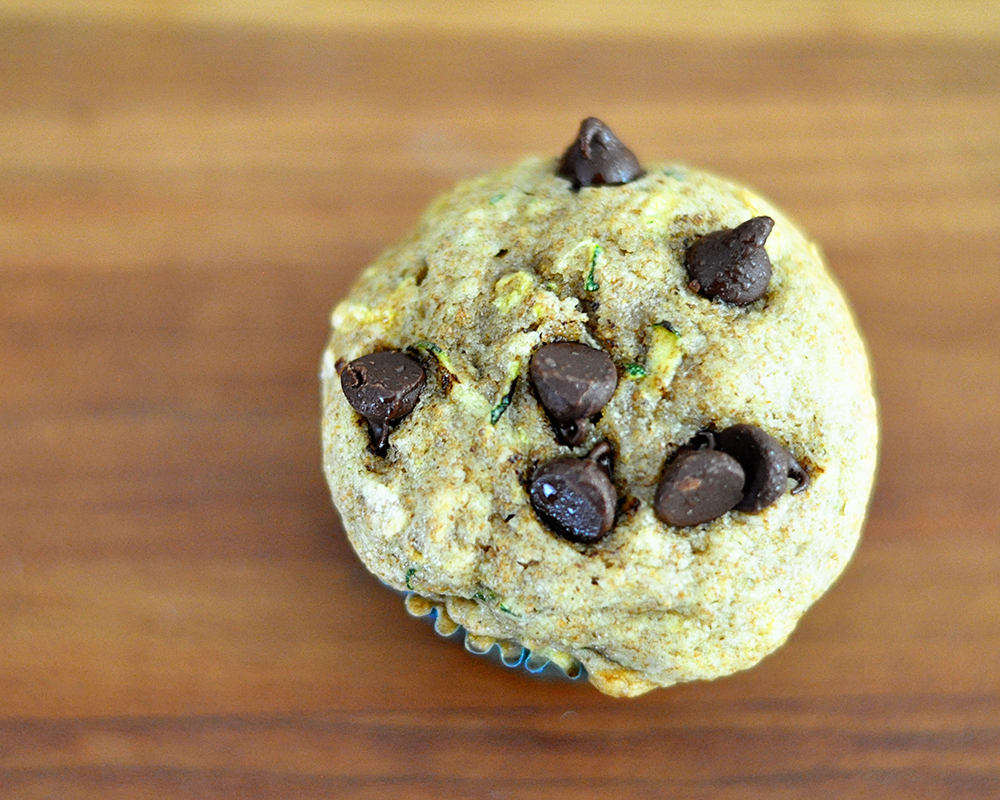 whole wheat chocolate chip zucchini muffins