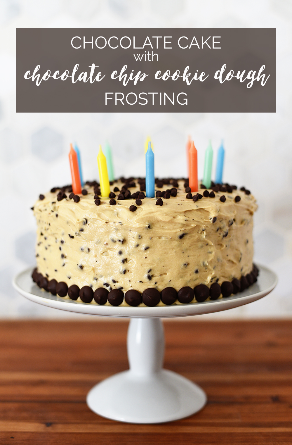 chocolate cake with chocolate chip cookie dough frosting