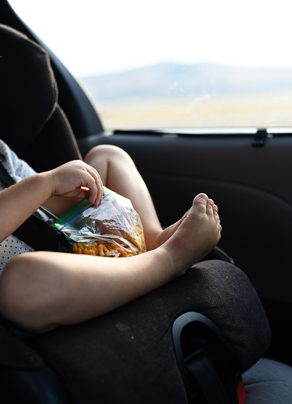 Don't forget the snacks on a screen-free road trip with kids