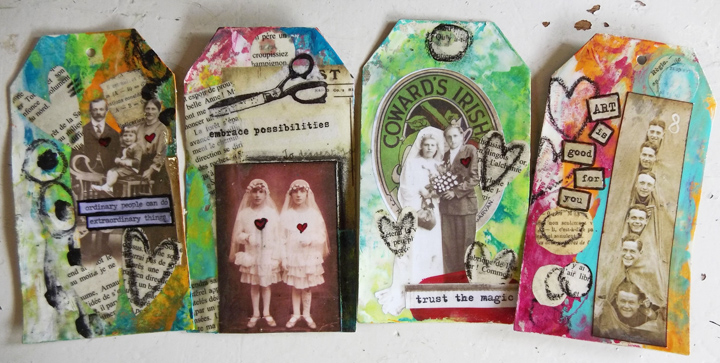 Jen Cushman resin collage tags