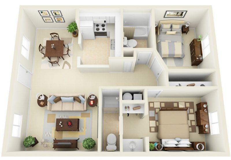 desain apartemen 2 kamar tidur bersih