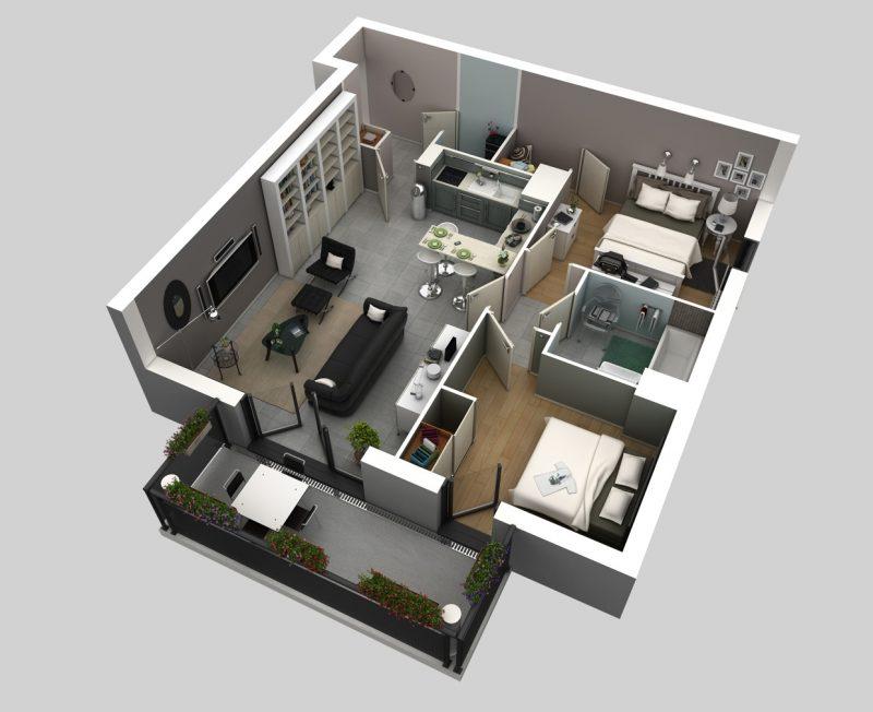 desain apartemen 2 kamar tidur hitam