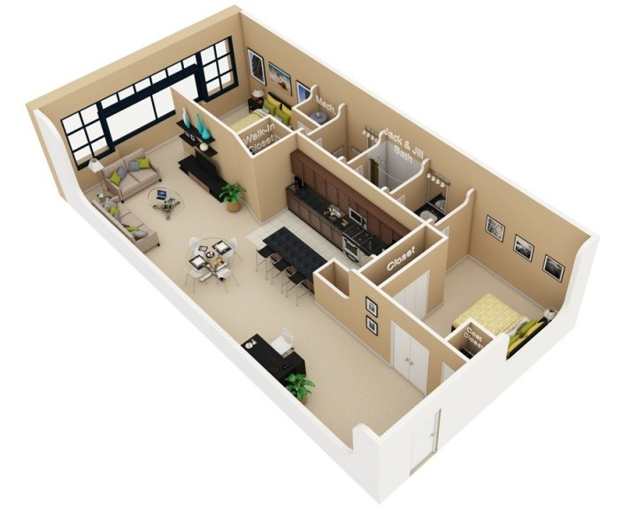 desain apartemen 2 kamar tidur krem