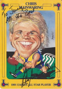 Chris Mainwaring profile card he autographed for me