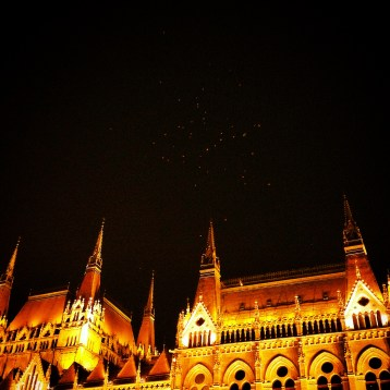 Bats over the Hungarian Parliament, glowing in the night.