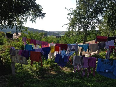 """""""It takes a very long time to wash and dry clothes for five children, in the winter, with no heat or electricity. But spring and fall are not as bad with sunlight."""""""