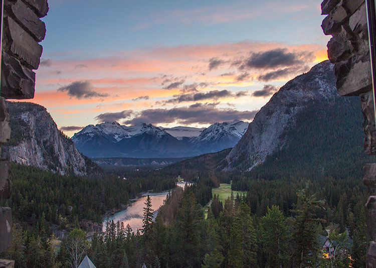 Sunrise-view-from-window-at-fairmont-banff-springs