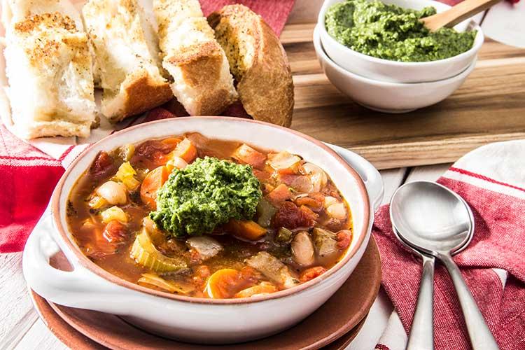 Vegetable-White-Bean-Soup-with-Pesto