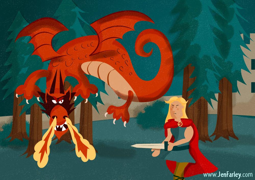 Fionn Fighting Dragon Illustrated By Jennifer Farley
