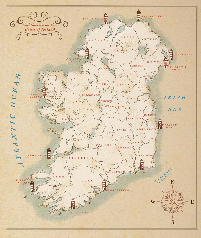 Illustrated maps jennifer farley illustration design twelve lighthouses around ireland map gumiabroncs Gallery