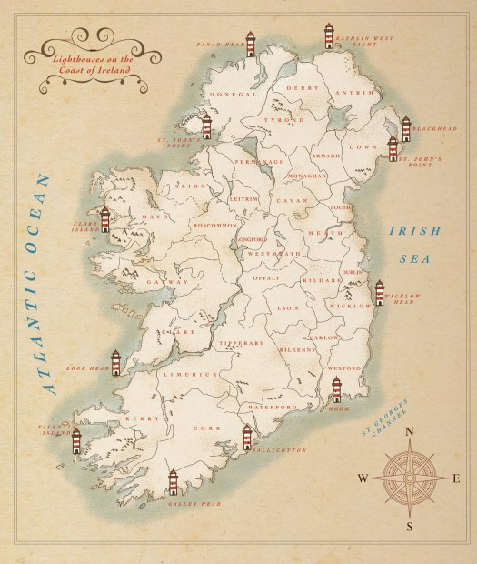 Twelve Lighthouses of Ireland illustrated by Jennifer Farley