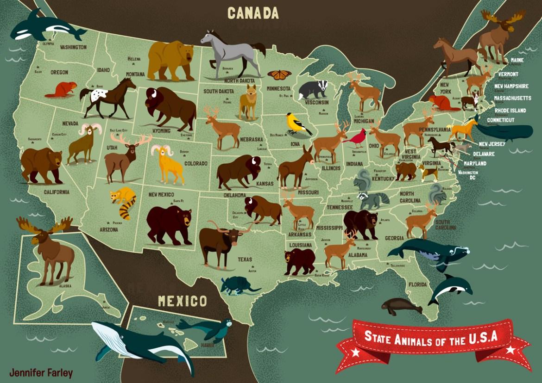 State Animals of the USA Map - Jennifer Farley