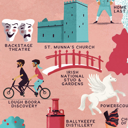 Illustrated Map Of Ireland With Cheap Date Activities by Jennifer Farley