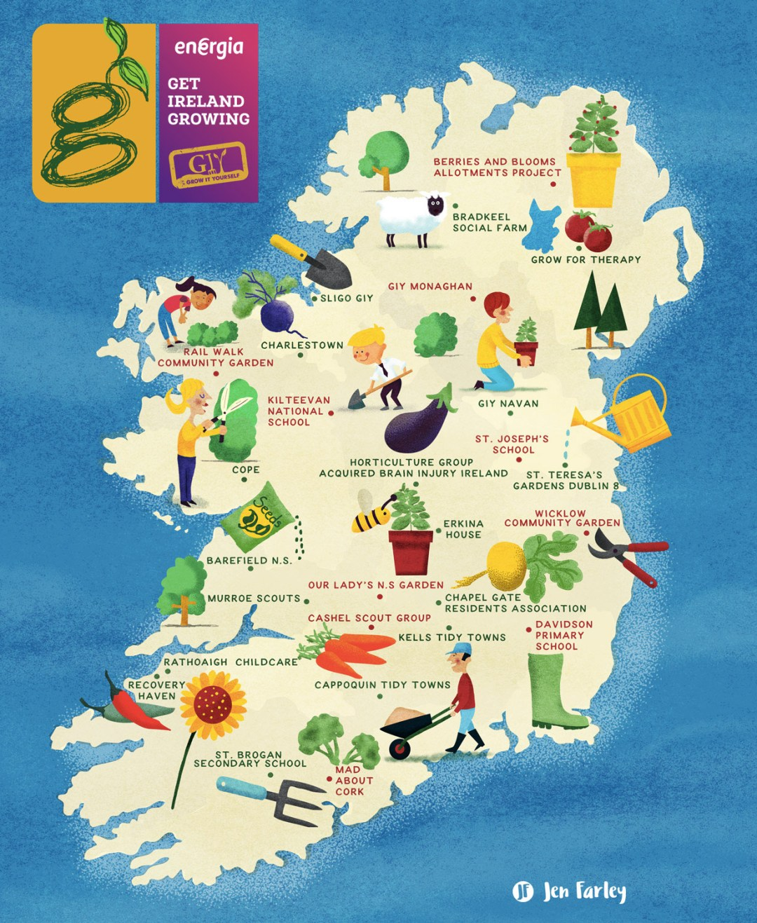 gardening map of ireland illustrated by jennifer farley