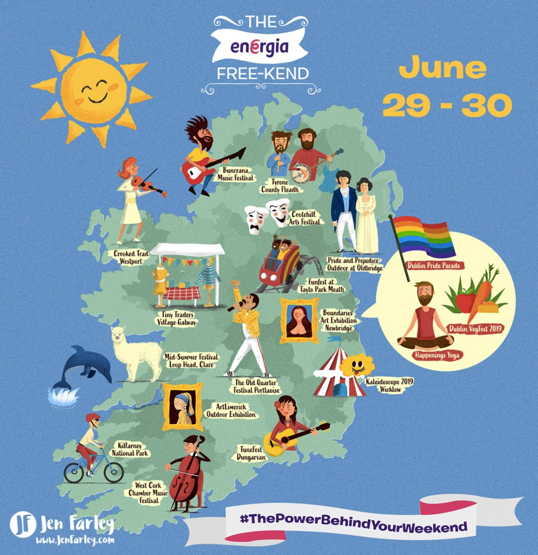 Illustrated Ireland Map 29 - 30 June 2019   Jennifer Farley ... on cuba map, britain map, portugal map, africa map, german map, british isles map, greece map, thailand map, poland map, japan map, denmark map, europe map, united states map, india map, norway map, iceland map, scotland map, wales map, germany map, irish map, new zealand map, kenya map, spain map, czech republic map, france map, netherlands map, australia map, italy map, england map, cyprus map, egypt map, uk map, malaysia map,