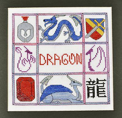 Stitching for Literacy - Cross Eyed Kat pattern, Dragon mini-motif sampler