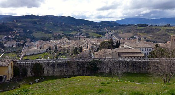 The town of Spoleto beyond the castle wall
