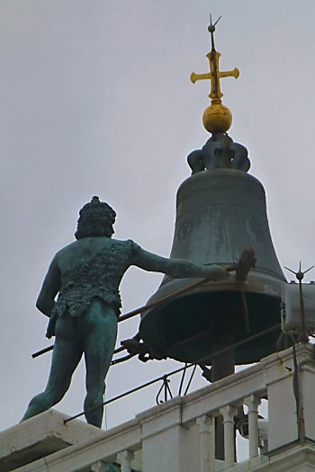 Bronze statue and bell