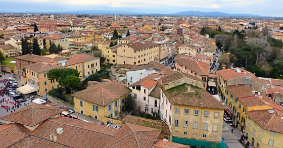 Bird's-eye view of the city of Pisa from the Leaning Tower.