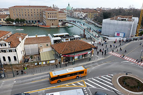 The train station and Grand Canal in Venice.