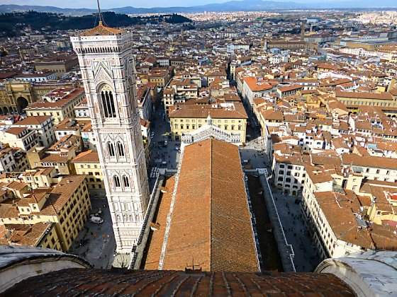 The view of the campanile and Firenze from the top of Brunelleschi's Dome.