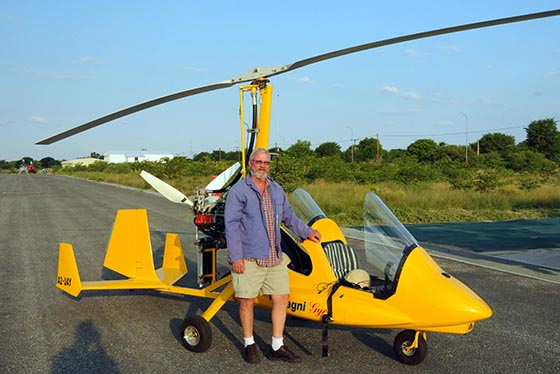 Brian and his yellow gyrocopter