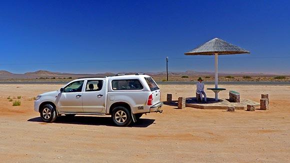 Desert roadside rest area, Namibia