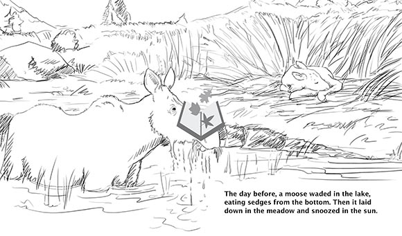 Been There Done That sketch, A.M. Gabriel, with Jen Funk Weber and Arbordale Publishing