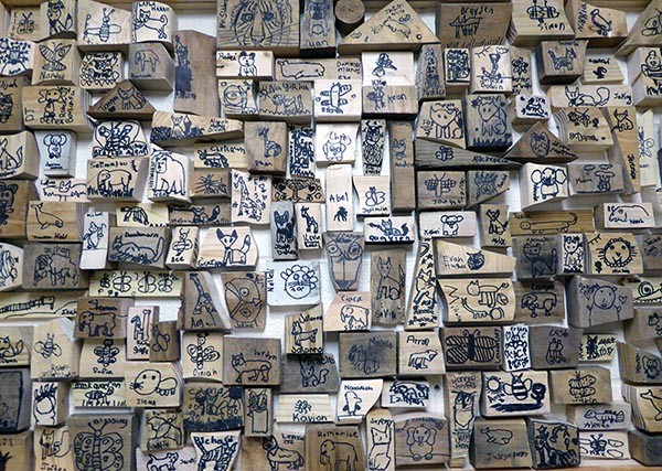 Wildlife on wood block art