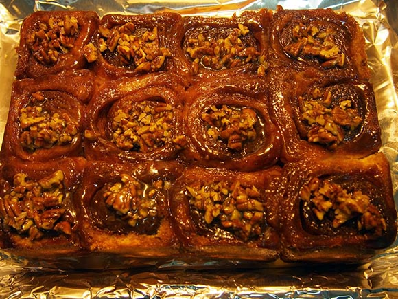 Cinnamon buns prepared by David's wife