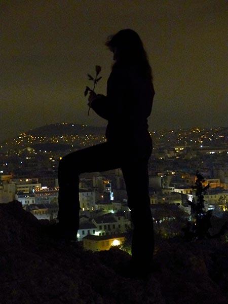 Human silhouette on Areopagus Rock - Jen Funk Weber