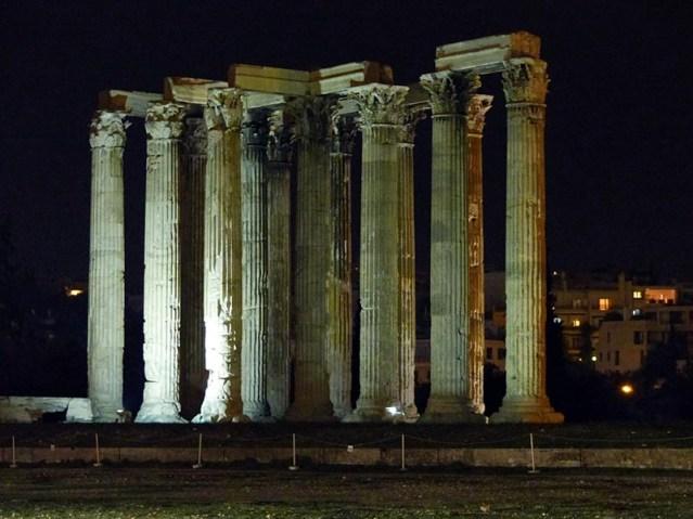 Spotlights on the Temple of Olympian Zeus, Athens, Greece - Jen Funk Weber