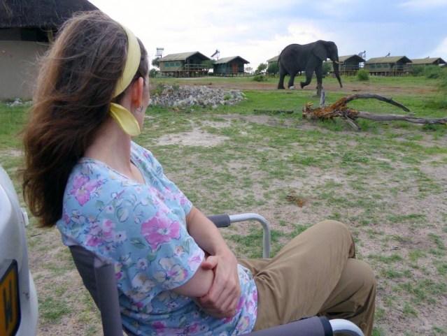 Jen watching elephants arrive at Elephant Sands, Botswana