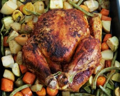 Pollo rostizado con verduras