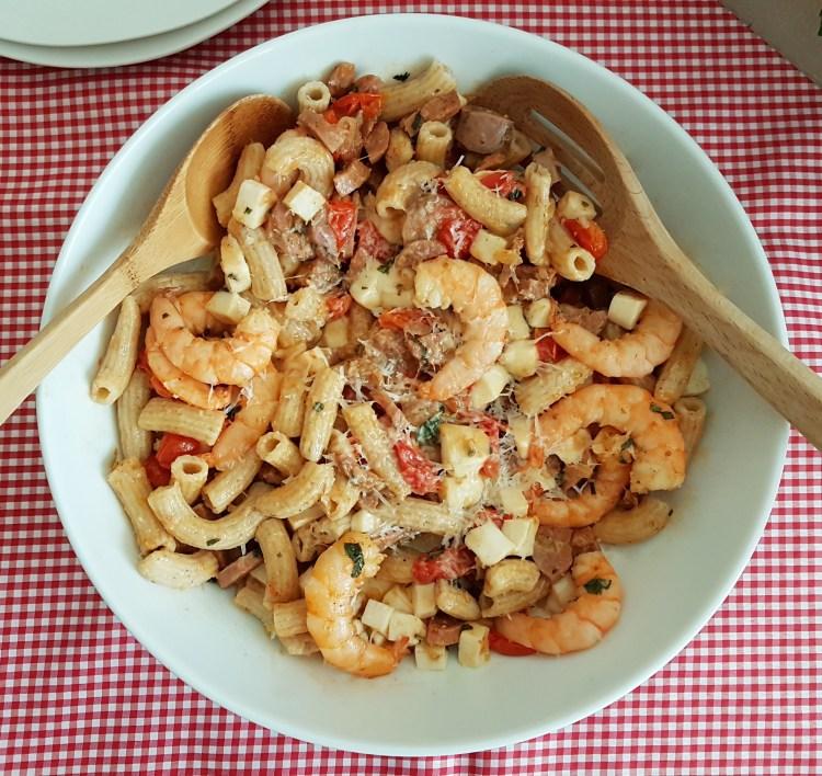 Penne con salchicha italiana y camarón