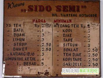 Daftar menu warung Sido Semi