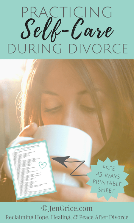 During the demands and stress of divorce, we often forget about ourselves and self-care. FREE printable to remind you to practice self-care during divorce. via @msjengrice