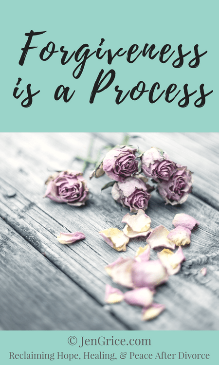 Forgiveness is not the first step in the divorce healing process. It is part of the process but not the first step. Often times the process takes years as the truth becomes clear and we remember all that has gone on. via @msjengrice