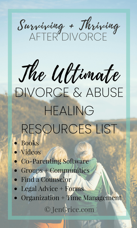 The Ultimate Divorce + Abuse Healing Resources List | Surviving + Thriving After Divorce via @msjengrice