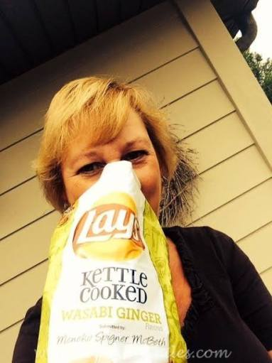 Beth feels as happy as I do about the Wasabi Ginger chips.
