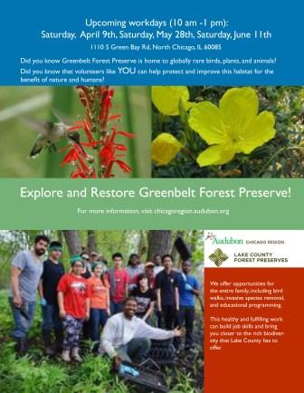Flyer for Greenbelt Forest Preserve event