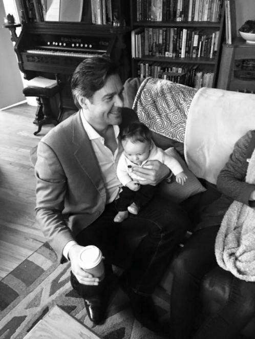Elijah and Nathan enjoy a coffee.