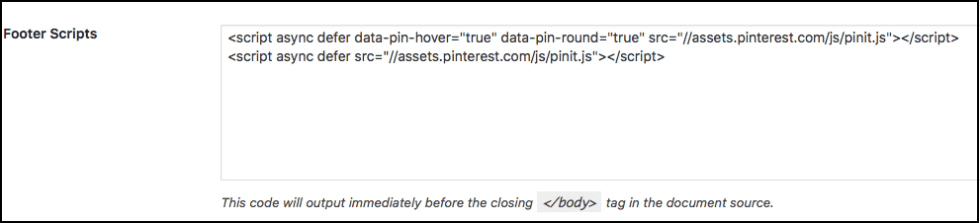 The Pin It button code needs to be placed in the footer of your theme or page before the closing body tag.